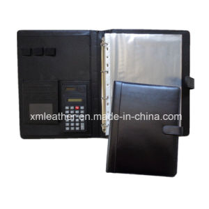 Magnetic Leather Business Agenda Portfolio File Folder with Plastic File Folder pictures & photos