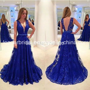 Blue Lace Party Formal Gowns V-Neckline Evening Dresses Z4004 pictures & photos