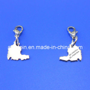 Cheap Jewelry Map Shaped Bronze Metal Tags with Name Engravings, Silver Tags pictures & photos