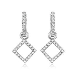 Micro Pave Setting Sterling Silver Diamond Dangle Earrings Wholesales pictures & photos