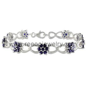 Flower Amethyst CZ Stones 925 Silver Bracelet Jewelry
