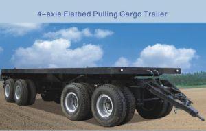 4-Axle Flatbed Pulling Cargo Trailer