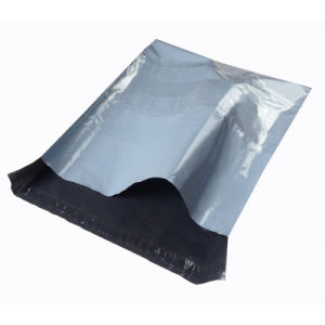 Custom Grey Plastic Mailing Envelope Bag with Clear Pocket pictures & photos