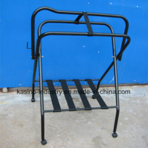 Floor Stand Folding Saddle Rack for Horse Equipment with Nylon Straps and Four Wheels pictures & photos
