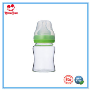5ounce Wide Neck Glass Baby Bottles with Silicone Nipple pictures & photos