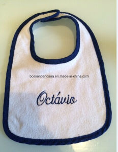 Customized Logo Embroidered Cotton Terry Cheap White Baby Feeder Bib pictures & photos