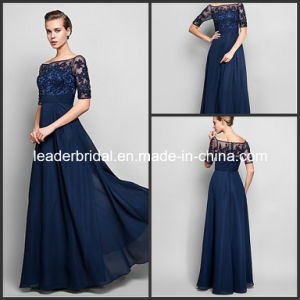 Crew Half Sleeves Applique Crystal Chiffon Mother Dress Yao1030012 pictures & photos