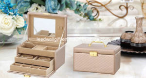 Leather Jewelry Storage Case W/Drawer Glass Top Lock pictures & photos