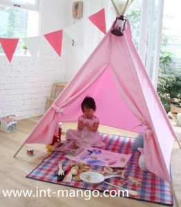 Quadrangle Indian Teepee Kids Playing Tent with Wooden Pole (MW6009) pictures & photos