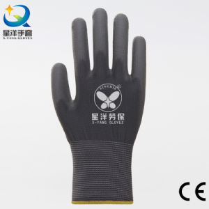 Black Polyester Liner with Black PU Coated Safety Gloves pictures & photos