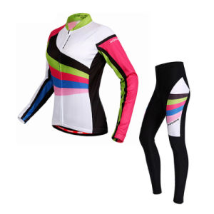 Custom Women Sublimated Long Sleeves Cycling Jersey and Pants pictures & photos