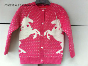 Girls Intarsia Unicorn - True Knitted Sweater pictures & photos