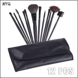 12 PCS Makeup Brush Set with Black Leather Case Brushes pictures & photos