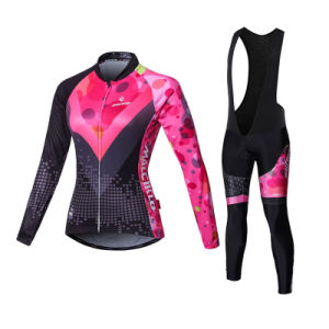 Custom Women Sublimated Long Sleeves Cycling Jersey and Bib Pants pictures & photos