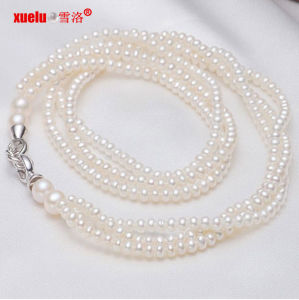 Fashion 3strands Small Natural Freshwater Pearl Necklace Jewelry (E130001) pictures & photos