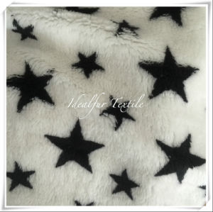 Black /White Star Jacquard Short Pile Fur for Pets pictures & photos