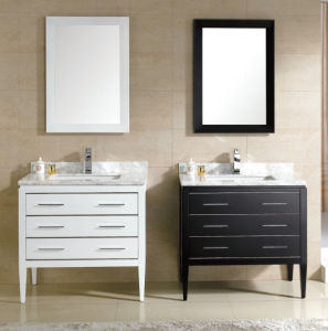 Solid Wood Bathroom Cabinet with Marble Top pictures & photos
