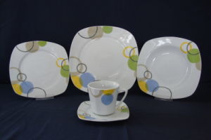 Crockery Dinnerware, Square Porcelain Tableware Jc5z037