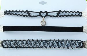 Fabric and Lace Multi Row Choker Necklace pictures & photos