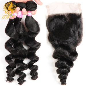 7A Virgin Human Hair with Closure Peruvian Loose Wave with Closure 5 PCS Weave with Closure 4 Bundles with Lace Closure pictures & photos