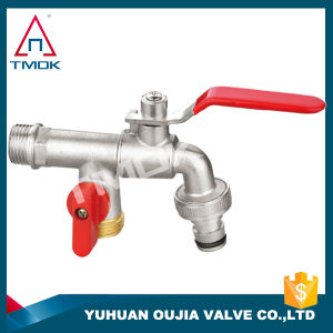 Aluminium Handle Brass Bibcock Check Valve with High Quality Long Alum Handle with Plating Three Way Manual Power