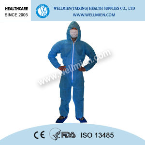 Waterproof Nonwoven Disposable Protective Overall with Hood pictures & photos