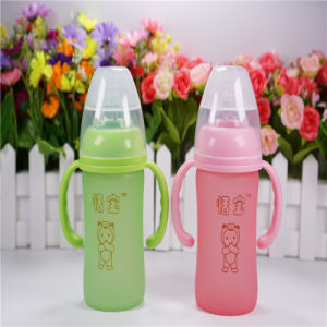 6oz 180ml Thermal Silica Gel Baby Glass Bottle pictures & photos