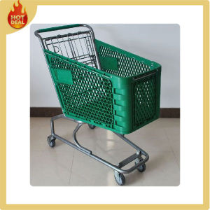 Supermarket Plastic Shopping Trolley with 4 Wheels pictures & photos