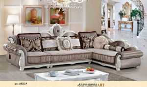Coffee Color, Rubber Wood Fabric Sofa, French Style Royal Sofa (A881) pictures & photos
