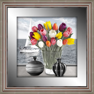 Top Quality 3D Colorful Tulip Flower Framed Painting with Mirror Border Silver Frame for Home Decoration