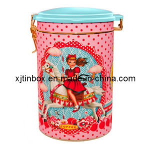 Tin Coffee Box, Coffee Tin Box, Large Coffee Container, Round Metal Box (XJ-018Y)