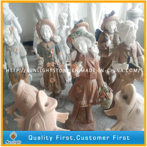 White Red Marble Art Girls Carving Statue / Sculptures for Garden pictures & photos