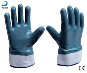 Cotton Jersey Shell Nitrile Coated Safety Work Gloves (N6001) pictures & photos