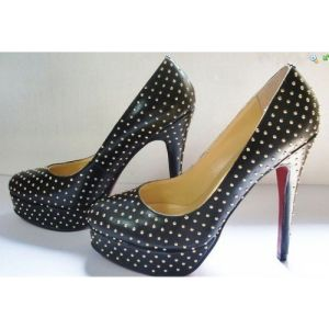 2016 Black High Heel Shoes with Studs (HCY02-369)
