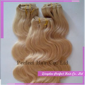 Wholesale Price Long Curly Blonde Clip in Human Hair Extensions pictures & photos
