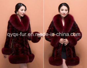 2015 Hot Selling Women′s 100% Mink Fur Coat with Fox Fur Collar and Sleeve pictures & photos