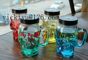 Glass Skeleton Bottle Glass Drink Cup with Metal Cap pictures & photos