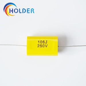Flat Type Axial Cbb20 106j/250V Metallized Polypropylene Film Capacitor pictures & photos