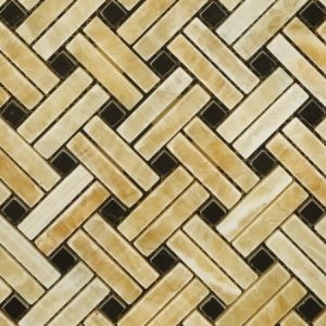 Honey Onyx Basketweave with Black Dots Mosaic Tile pictures & photos