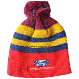 China Factory Produce Customized Embroidered Striped Jacquard Wool Beanie Cap pictures & photos