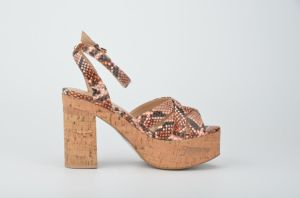 Lady Casual Snake Pattern Cork Platform High Heels Women Sandals pictures & photos
