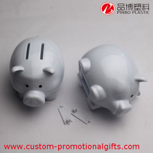 Children White Pig Design Cute Plastic Piggy Banks
