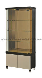 Wooden UV High Gloss Khaki Display Cabinet with Glass Decaration (I&D-30703)