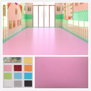 Anti-Slip Fireproof Vinyl Plastic Floor Pink Covering Roll Flooring pictures & photos