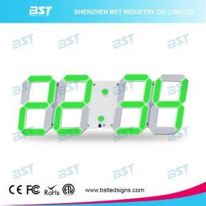 Creative Indoor Digital LED Wall Clock for Time/Date/Temerature Display Via Remote Control pictures & photos