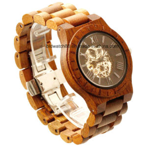 Men′s Skeleton Wooden Watch with Mechanical Movement pictures & photos