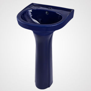 China Wholesale Bathroom Furniture, Sanitary Ware, Dark Blue Pedestal Basin pictures & photos