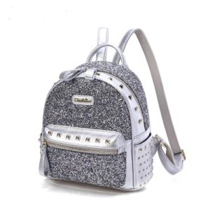Fashion Silver Shiny PU School Backpack for Girls pictures & photos