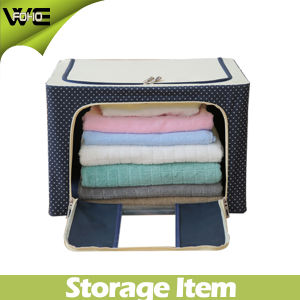 Folding Cute Cloth Canvas Fabric Storage Box with Lid pictures & photos