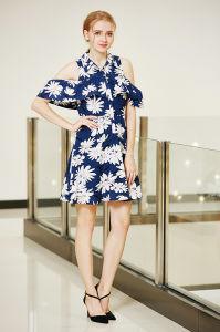 Big Floral Printing Cold Shoulder Smocking Sleeve Placket Front Prom Dress